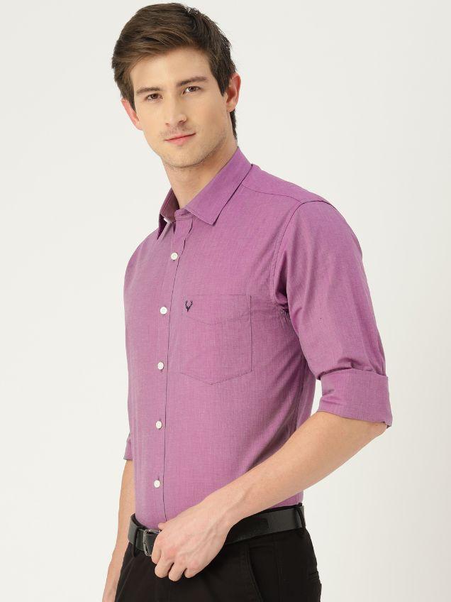 Men Purple Sport Slim Fit Solid Formal Shirt by Allen Solly