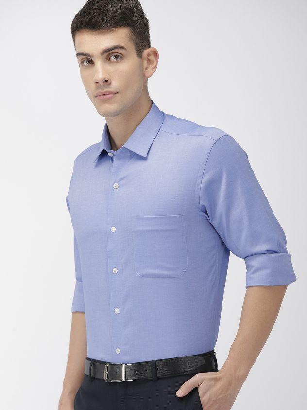 Men Blue Regular Fit Solid Formal Shirtby Arrow
