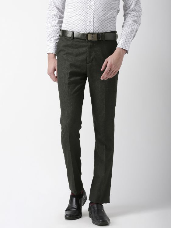 Men Charcoal Grey Tapered Fit Solid Formal Trousers