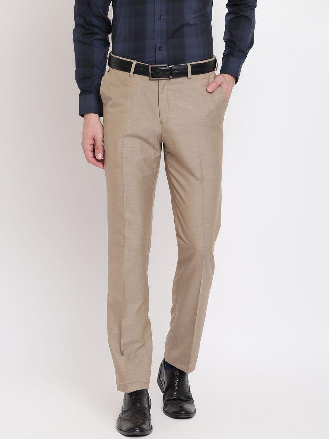 Men Beige Regular Fit Solid Formal Trousers