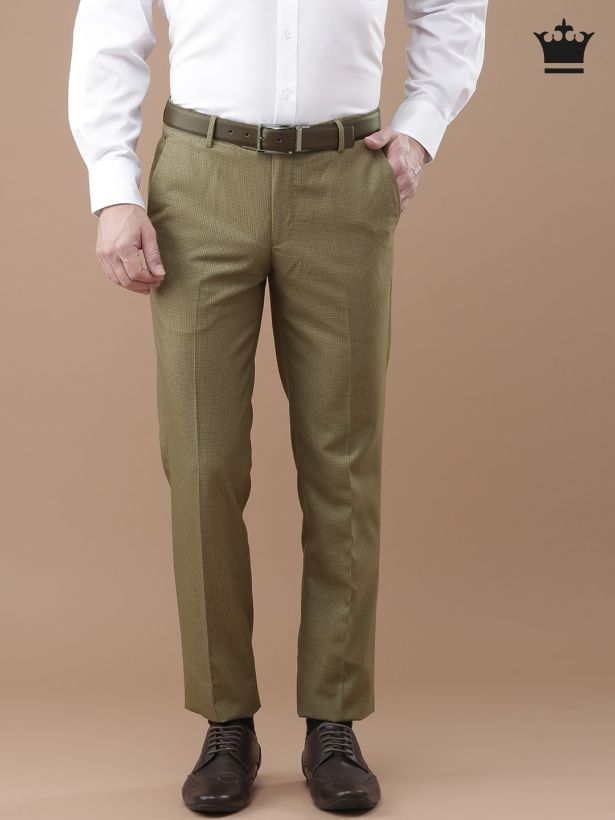 Khaki Checked Formal Trousers