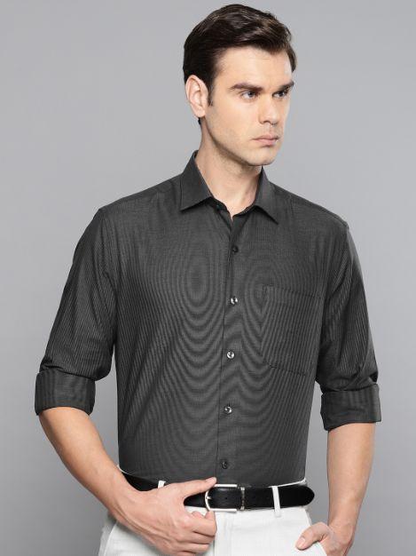 Men Charcoal Grey Slim Fit Self Design Formal Shirt by Louis Philippe