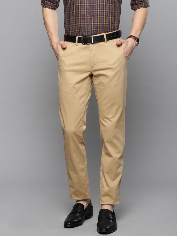 Men Khaki Slim Fit Solid Smart Casual Chinos