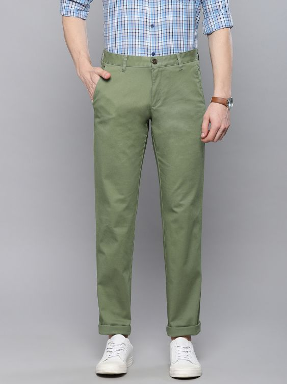 Men Olive Green Slim Fit Solid Chinos