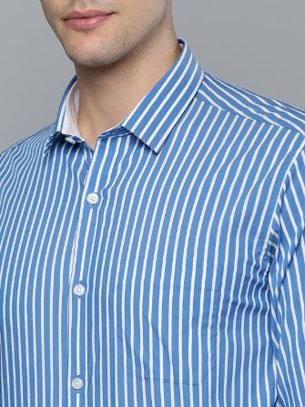 Blue & White Slim Fit Striped Formal Shirt by Louis Philippe