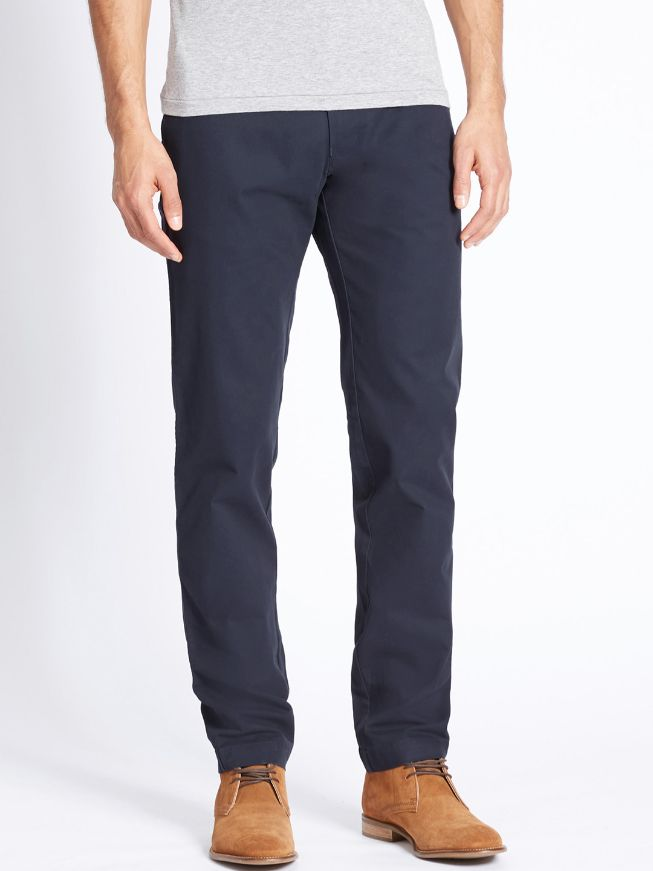 Men Navy Blue Slim Fit Solid Chinos