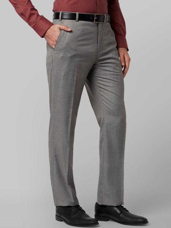 Men Grey Regular Fit Solid Formal Trousers
