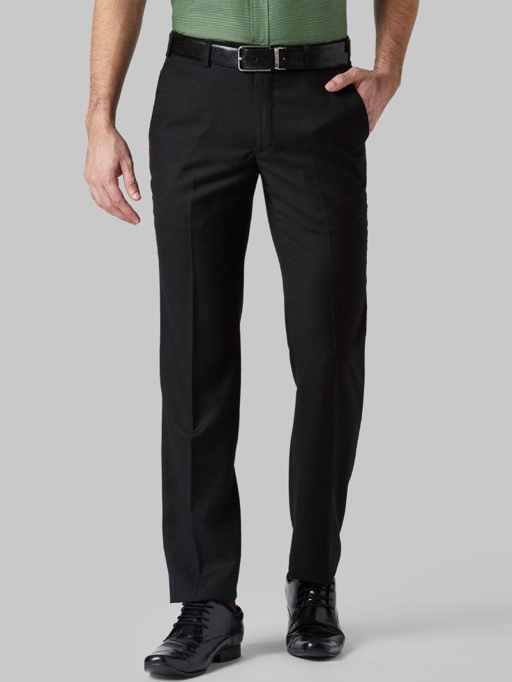Men Black Slim Fit Solid Formal Trousers
