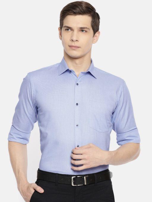 Blue Slim Fit Self Design Shirt by Park Avenue