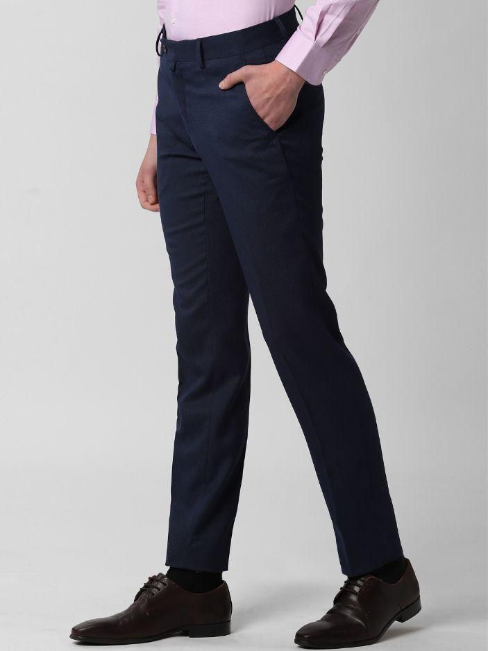 Men Navy Blue & Black Slim Fit Self Design Formal Trousers