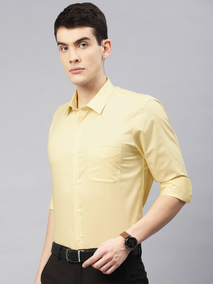 Men Yellow Nuvo Regular Fit Solid Formal Shirt by Peter England