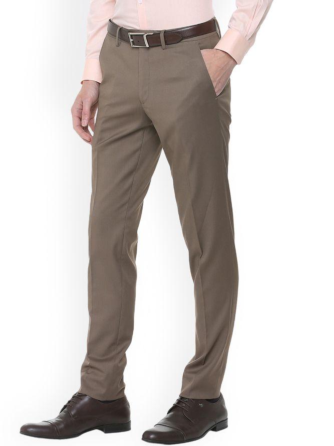 Men Brown Slim Fit Solid Formal Trousers