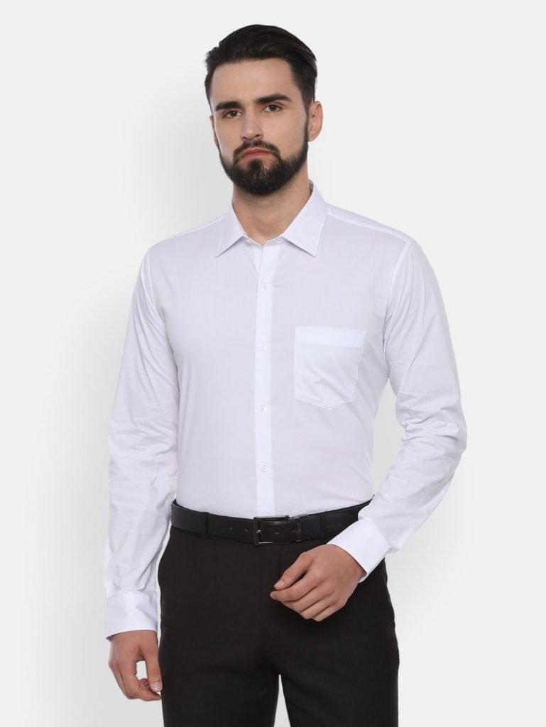 White Slim Fit Solid Formal Shirt by Van Heusen