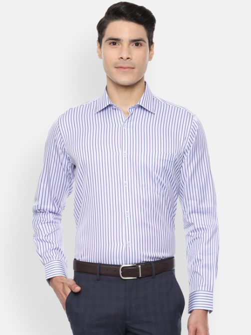 Blue & White Regular Fit Striped Formal Shirt by Van Heusen