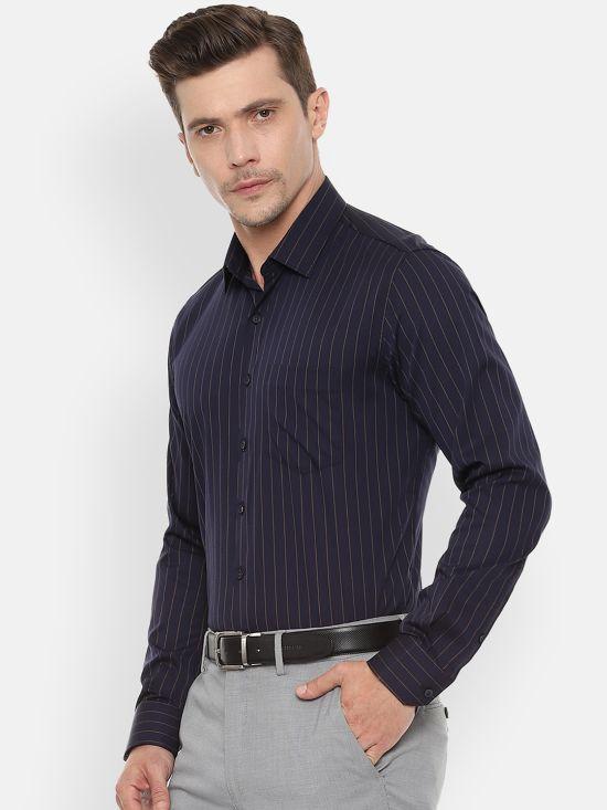 Navy Blue Slim Fit Striped Formal Shirt by Van Heusen