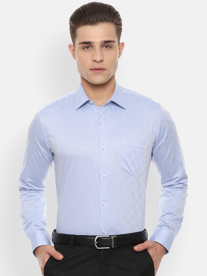 Men Blue Slim Fit Self Design Formal Shirt by Van Heusen