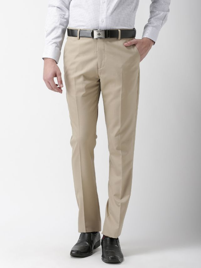 Men Khaki Tapered Fit Solid Formal Trousers