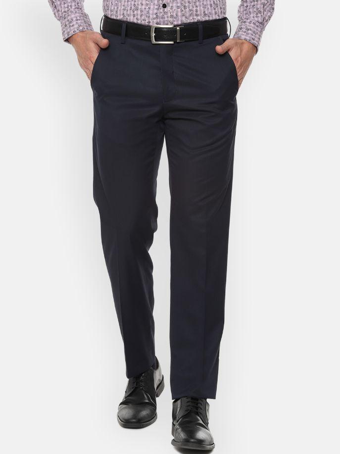 Men Navy Blue Regular Fit Solid Formal Trousers