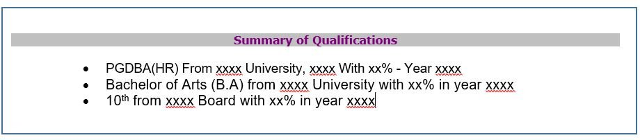 Structure of an effective resume- Step II- Summary of Qualification